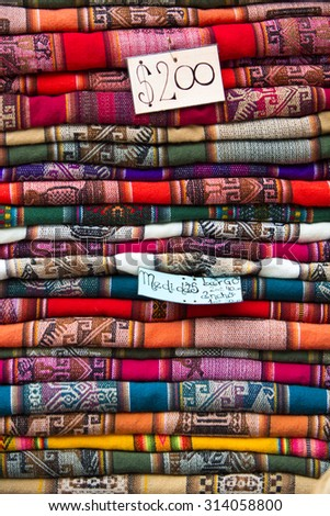 Colored blankets for Sale in Salta tourist market. North of Argentina - stock photo