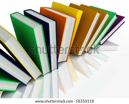 colored books isolated on white