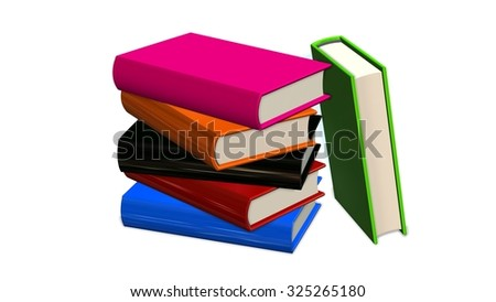 colored books Stack on white background