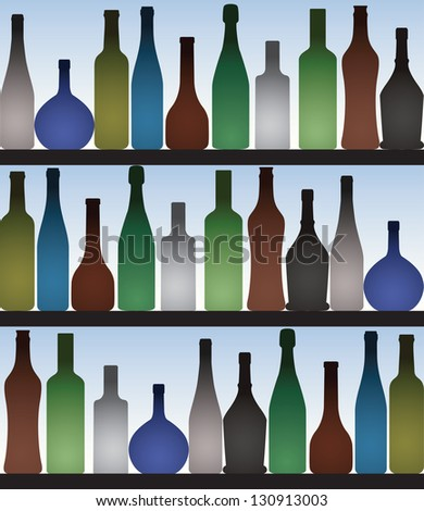 Colored bottles in bar