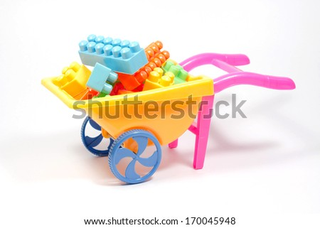 colored bricks toy - stock photo