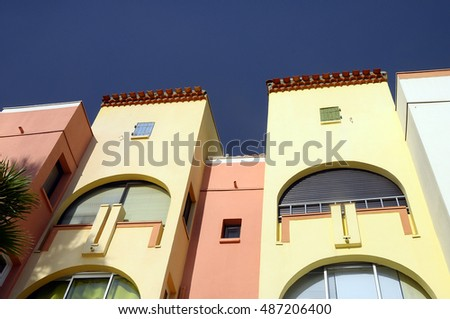 Colored Buildings in Port Leucate, French riviera, Cote d'Azur, or Blue coast in Languedoc, South France