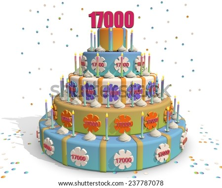 colored cake with number 17000 at the top . Celebrating a birthday , anniversary , winner, or something else. - stock photo