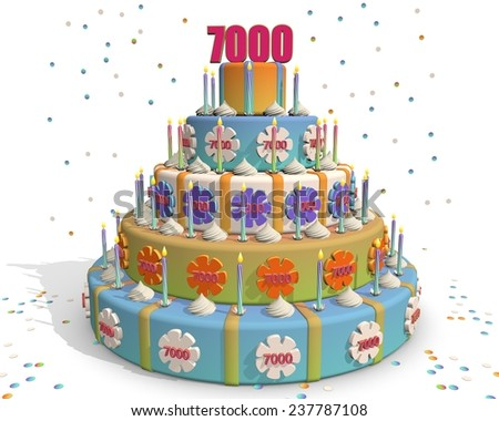 colored cake with number 7000 at the top . Celebrating a birthday , anniversary , winner, or something else. - stock photo
