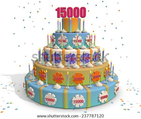 colored cake with number 15000 at the top . Celebrating a birthday , anniversary , winner, or something else. - stock photo