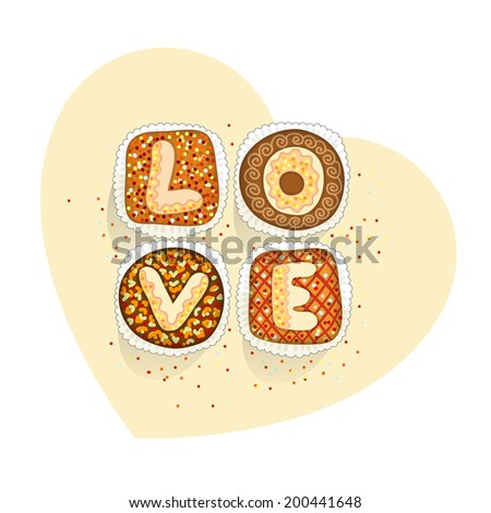 Colored cakes with letters, which form the word love - stock photo