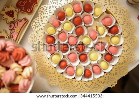 Colored candies on a plate