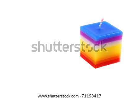 Colored candle isolated on the white background