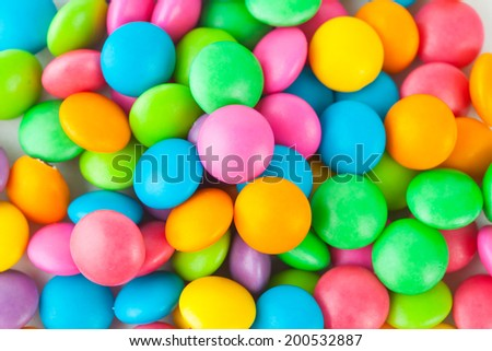 colored candy on white background