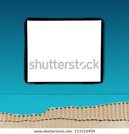 colored cardboard background paper texture with photo frame - blue - stock photo