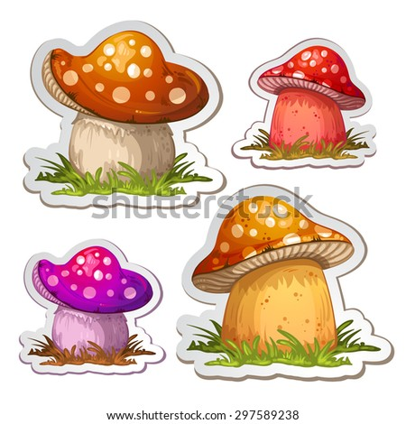 Colored cartoon mushroom - stock photo