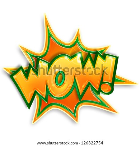 colored cartoon wow isolated on white background