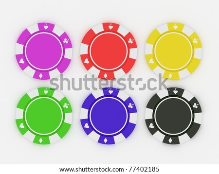 Colored Casino chips isolated on white - stock photo