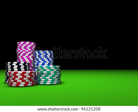 Colored casino chips on green table. Great background for magazines, banners, webpages, flyers, etc. - stock photo
