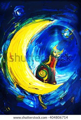 Colored cat sitting on a crescent moon - stock photo