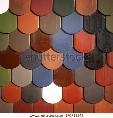 colored ceramic roof - stock photo