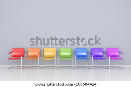 Colored chairs in the waiting room - stock photo