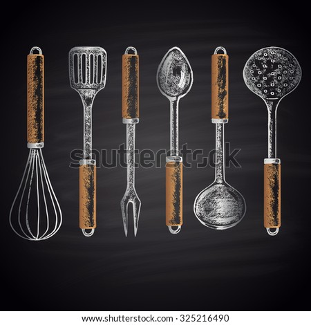 Colored chalk drawn set with different types of kitchen accessories (whisk, skimmer, spatula, soup ladle, etc.). Kitchen theme. - stock photo