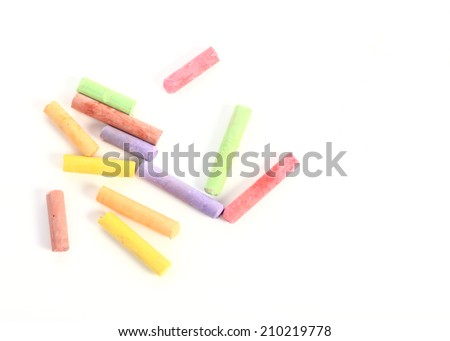 colored chalk isolated on white background - stock photo