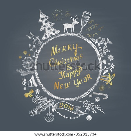 Colored chalk painted illustration with Christmas ball,  ''Merry Christmas & Happy New Year'' text  and set of different holiday objects with golden elements. Happy New 2016 Year Theme. Card design.  - stock photo