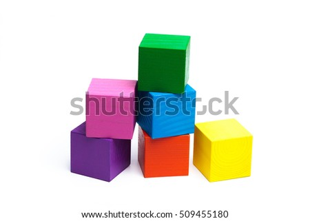 colored children cubes on  white isolated background