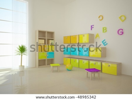 colored children room - stock photo