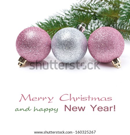 colored Christmas balls isolated on white background, close-up
