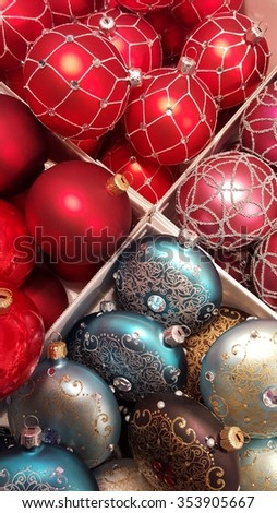 colored christmas bulbs in a box