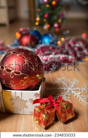 colored Christmas decorations and gifts