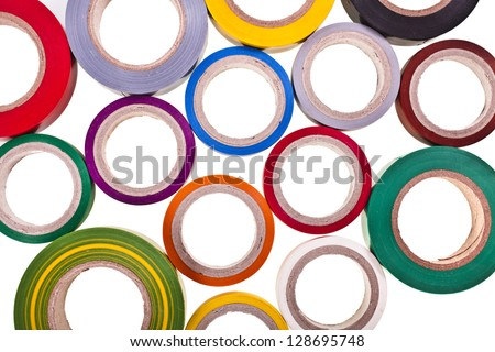 colored circles roll of adhesive tape isolated on white background - stock photo
