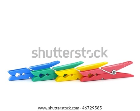 Colored clothes-peg isolated on white
