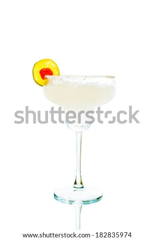 Colored cocktail isolated on white background - stock photo