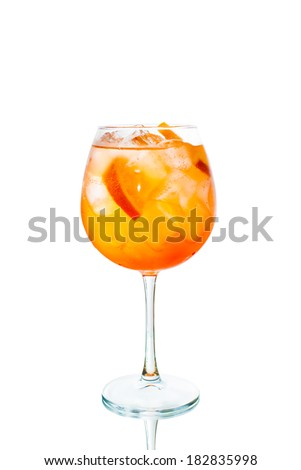Colored cocktail with orange and ice isolated on white background - stock photo