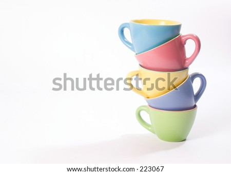 Colored coffee cups on a side