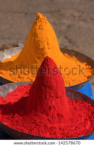 Colored colorful powder kumkum on Indian bazaar for holi festival celebration