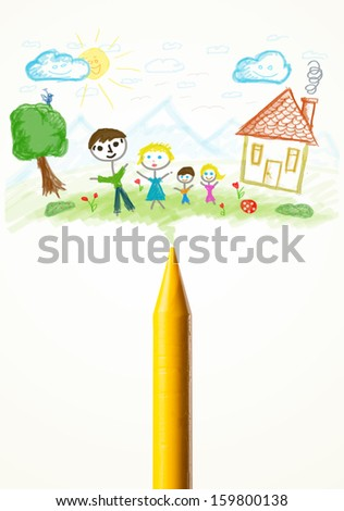 Colored crayon close-up with a paint drawing of a family - stock photo