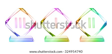 colored crystal trophy set isolated on a white background with a clipping path - stock photo