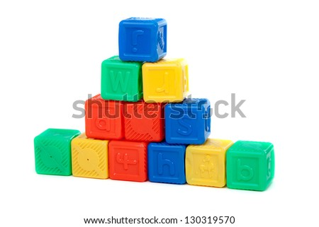 colored cubes isolated on white background - stock photo