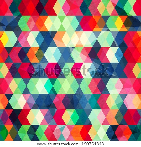 colored cubes seamless with grunge effect (raster version)