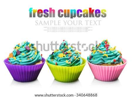 colored cupcakes isolated on a white background. for example text and remove - stock photo