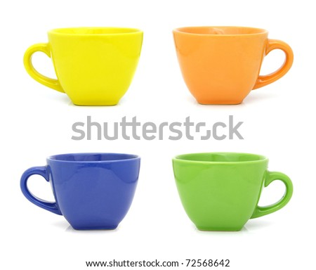 Colored cups set isolated on white background - stock photo