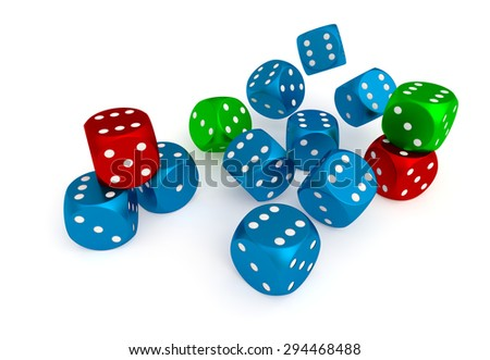 colored dices for game in the casino at this night - stock photo