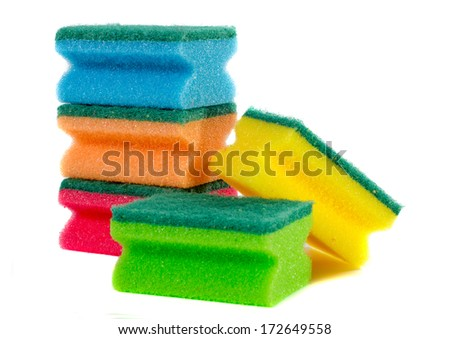 Colored dish washing sponges (orange, red, blue, green, yellow) isolated on white background