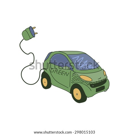 Colored doodle electric car. Isolated cars silhouette with a battery.