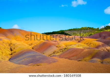 colored earth in Mauritius is a transient color from orange to purple - stock photo
