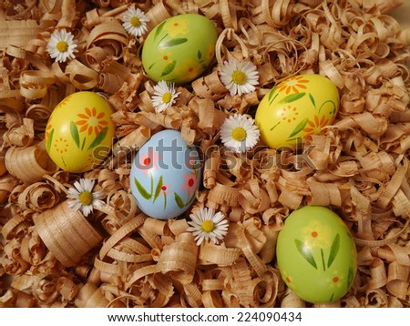 colored Easter eggs - stock photo