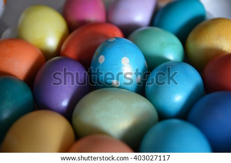 colored easter eggs, close-up. flecks of sunlight