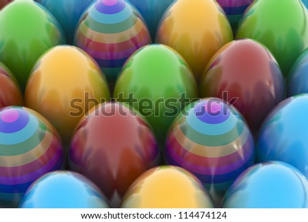 Colored easter eggs - High quality render