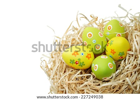 Colored Easter eggs into a nest isolated on white background - stock photo