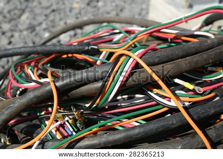 Colored electrical cables or wires old